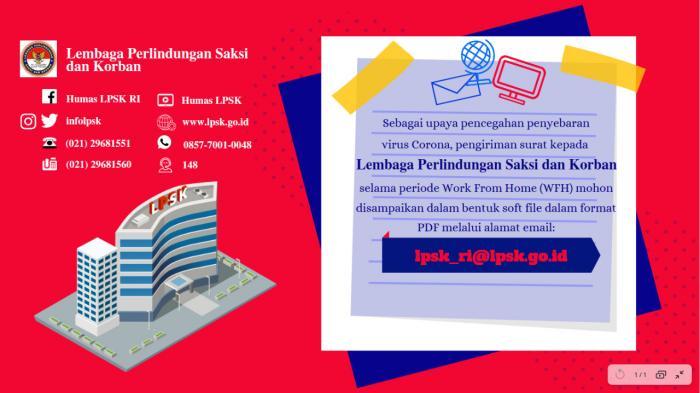 Pengiriman Surat ke LPSK selama Diberlakukannya Work from Home